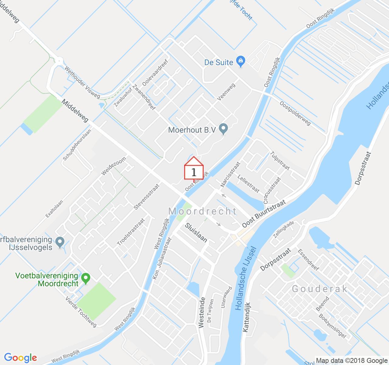 Google Map of Oost Ringdijk, 2841 XJ Moordrecht