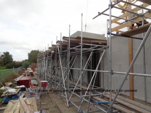6 oktober 2018: galerij voor appartementen bouwnrs 4 en 5 zijn geplaatst