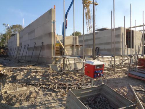 6 oktober 2018: hier moet laatste muur komen en dan is begane grond klaar
