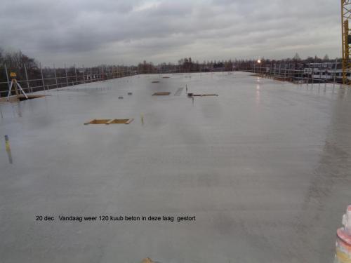 20 december 2018: vandaag weer 120m3 beton in deze laag gestort