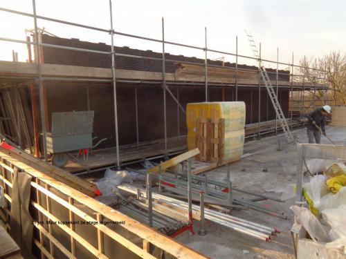 21 januari 2019: muur kopse kant 3e etage is gemetseld