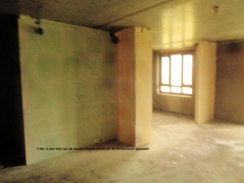 5 februari 2019: binnenmuren geplaatst deel vd kamers begane grond