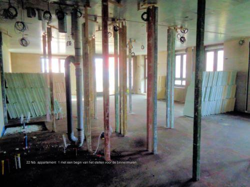 22 februari 2019: appartement 1 begin stellen binnenmuren