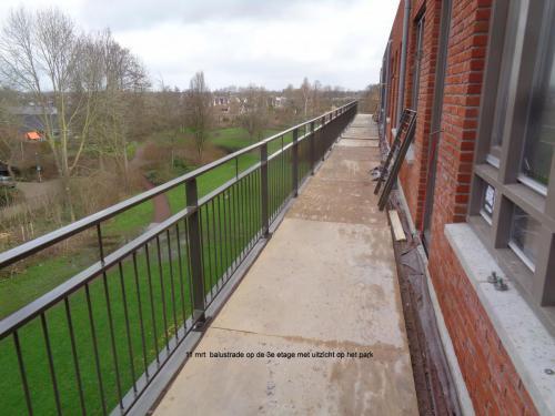11 maart 2019: balustrade 3e etage met uitzicht op park